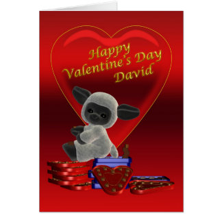 Happy Valentine's Day cute little sheep on chocola Card
