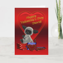 Happy Valentine's Day cute little sheep on chocola Holiday Card