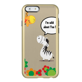 Happy Valentines Day cute zebra and giraffe Incipio Feather Shine iPhone 6 Case