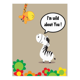 Happy Valentines Day Cute Zebra And Giraffe Postcard