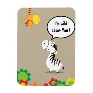 Happy Valentines Day cute zebra and giraffe Rectangle Magnets