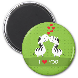 Happy Valentines Day cute zebras with hearts Refrigerator Magnets