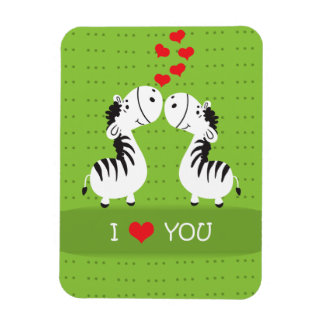 Happy Valentines Day cute zebras with hearts Vinyl Magnet