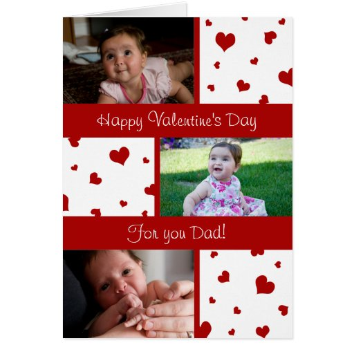 Happy Valentine's Day Dad Photo Card Red Hearts