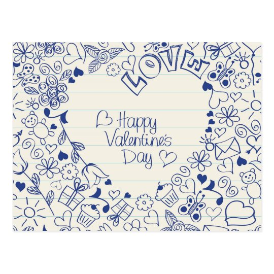 Happy Valentine's Day doodles! Postcard