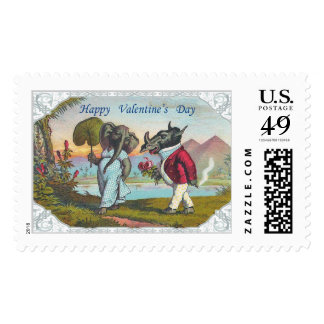 Happy Valentine's Day Elephant and Warthog Postage Stamp