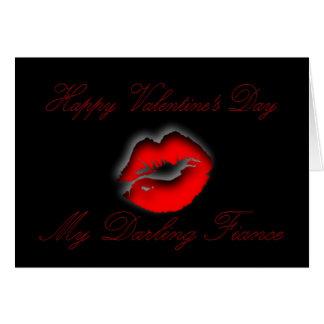 Happy Valentine's Day for Fiance, lips Valentine Card