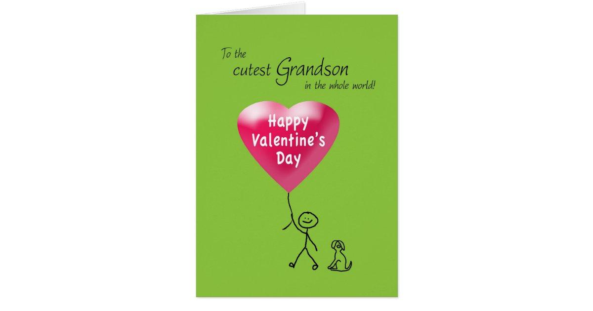 Happy Valentine's Day for Grandson Card | Zazzle