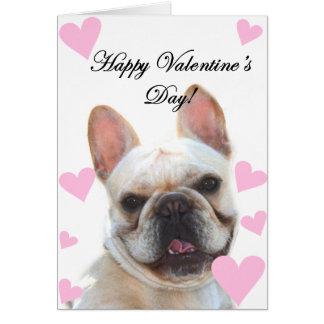 Happy Valentine's Day French bulldog greeting card