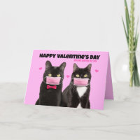 Happy Valentine's Day From Both Cats in Face Masks Holiday Card