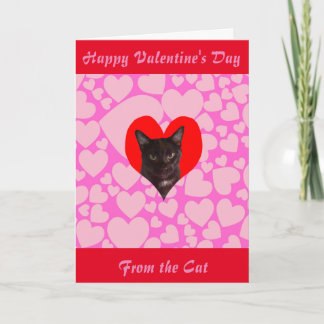 Happy Valentine's Day From The Cat (Black Cat) Holiday Card