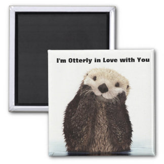 Happy Valentines Day Funny Otter 2 Inch Square Magnet