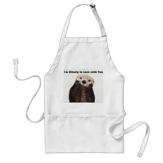 Happy Valentines Day Funny Otter Adult Apron