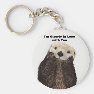 Happy Valentines Day Funny Otter Basic Round Button Keychain