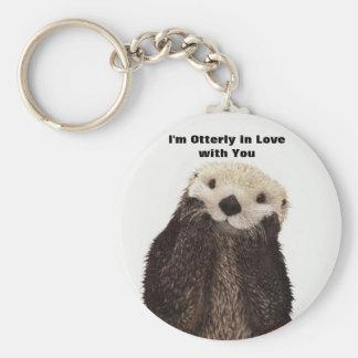 Happy Valentines Day Funny Otter Keychain