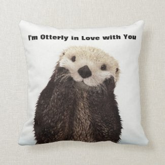 Happy Valentines Day Funny Otter Throw Pillow