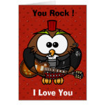 Happy Valentines Day Funny Owl Rock Star Card