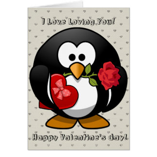 Happy Valentines Day Funny Penguin Rose Cartoon Card