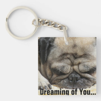 Happy Valentines Day Funny Puppy Square Acrylic Key Chain