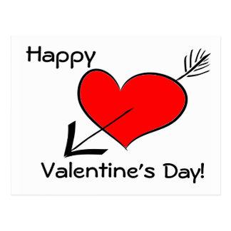 Happy Valentine's Day Funny Red Heart Arrow Postca Postcard
