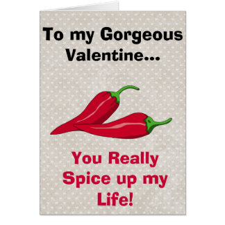 Happy Valentines Day Funny Red Hot Chili Pepers Card