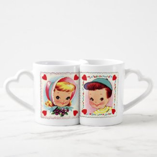Happy Valentines Day Funny Vintage Boy and Girl Lovers Mug