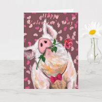 Happy Valentine's Day - Gentleman Pig - Romantic Card