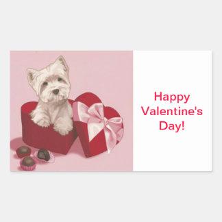 Happy Valentine's Day Gift Tag Westie Gift Tags St Rectangular Sticker