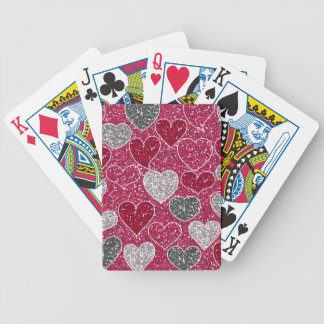 Happy Valentine's Day Glitter Love Bling Hearts Bicycle Playing Cards