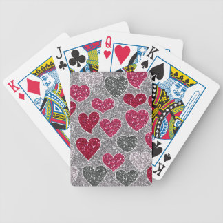 Happy Valentines Day Glitter Love Bling Hearts Bicycle Playing Cards