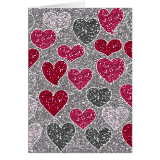 Happy Valentine's Day Glitter Love Bling Hearts Card