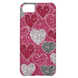 Happy Valentine's Day Glitter Love Bling Hearts Case For iPhone 5C