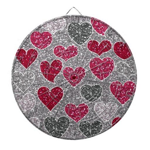 Happy Valentine's Day Glitter Love Bling Hearts Dart Board