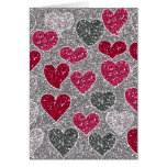Happy Valentine's Day Glitter Love Bling Hearts Greeting Card