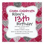 """Happy Valentine's Day Glitter Love Bling Hearts 5.25"""" Square Invitation Card"""