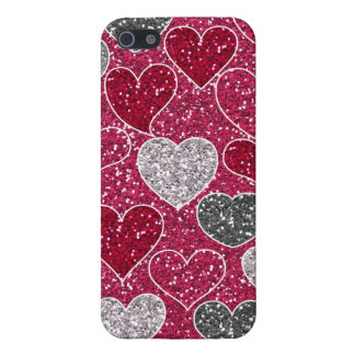 Happy Valentine's Day Glitter Love Bling Hearts iPhone SE/5/5s Case