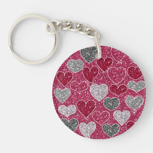 Happy Valentine's Day Glitter Love Bling Hearts Acrylic Key Chains