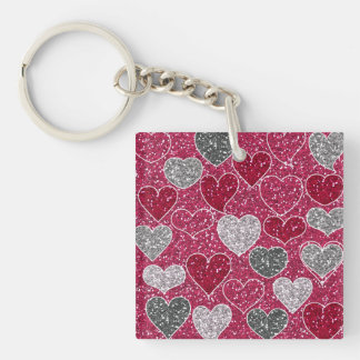 Happy Valentine's Day Glitter Love Bling Hearts Keychain