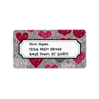 Happy Valentine's Day Glitter Love Bling Hearts Personalized Address Label