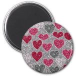 Happy Valentine's Day Glitter Love Bling Hearts 2 Inch Round Magnet