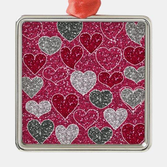 Happy Valentine's Day Glitter Love Bling Hearts Metal Ornament