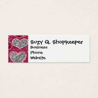 Happy Valentine's Day Glitter Love Bling Hearts Mini Business Card