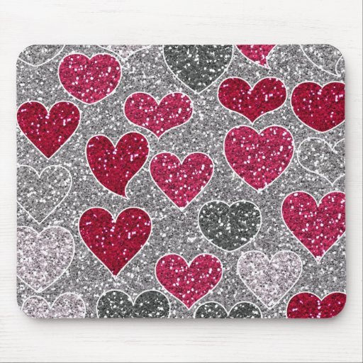 Happy Valentine's Day Glitter Love Bling Hearts Mouse Pad
