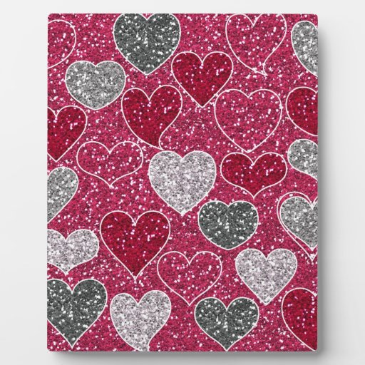 Happy Valentine's Day Glitter Love Bling Hearts Plaque