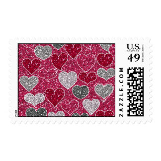 Happy Valentine's Day Glitter Love Bling Hearts Postage