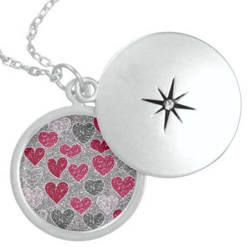 Happy Valentine's Day Glitter Love Bling Hearts Round Locket Necklace