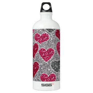 Happy Valentine's Day Glitter Love Bling Hearts SIGG Traveler 1.0L Water Bottle