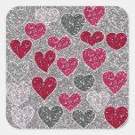 Happy Valentine's Day Glitter Love Bling Hearts Square Sticker