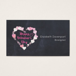 Happy Valentine's Day Glittery Pink Hearts Business Card
