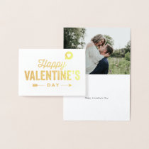 Happy Valentine's Day Gold Foil Custom Photo Card